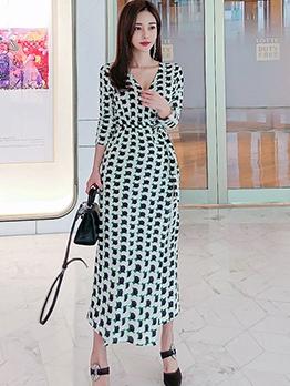 Geometric Printed High Slit Maxi Dresses