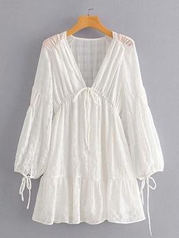 Summer v Neck White Long Sleeve Dress