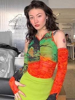 Open Shoulder Contrast Color Pleated Gauze Cool T Shirt
