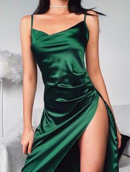 Euro Irregular Hem Green Sleeveless Stain Dress