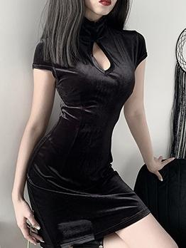 Keyhole Stand Neck Black Bodycon Velvet Dress