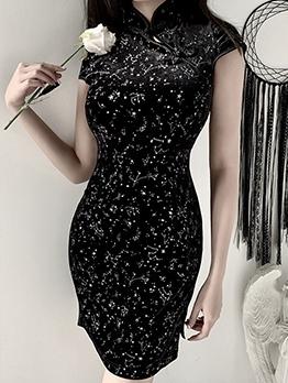 Mandarin Collar Starry Sky Print Black Bodycon Dress