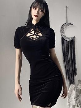 Cheongsam Style Lace Up Black Bodycon Velvet Dress