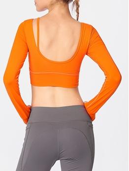 Plain Pure Color Backless Skinny Yoga T Shirt