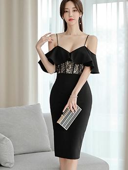 Elegant Lace Patch Off The Shoulder Black Ladies Dress