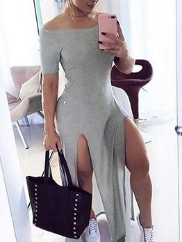 Sexy Split Hem Short Sleeve Off The Shoulder Maxi Dress