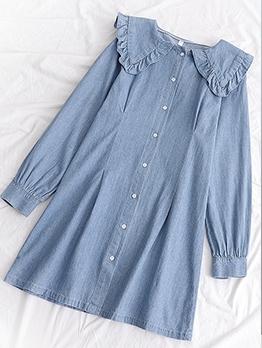 Single-Breasted Doll Collar Long Sleeve Denim Dress