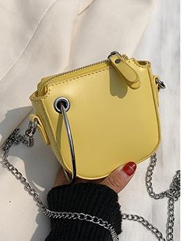 Metal Ring Solid Color Detachable Chain Mini Shoulder Bags
