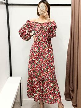 Lantern Sleeve Off The Shoulder Floral Maxi Dress