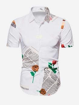 Leisure Newspaper Rose Printed Shirts For Men
