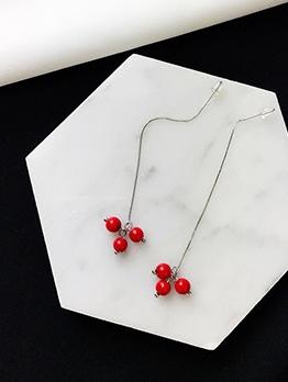Sweet Cherry Long Earrings For Women
