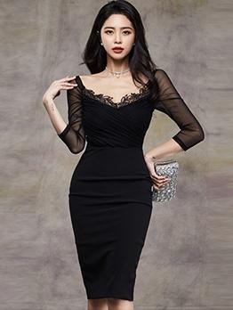 Fashion Gauze Patchwork Split Bodycon Dress