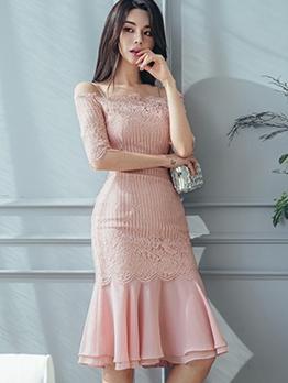 Eyelash Lace Panel Ruffled Ladies Dress