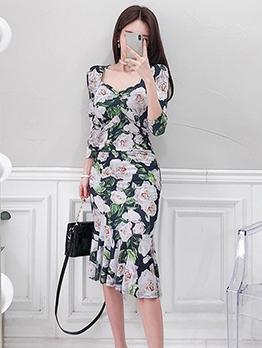 Elegant Flower Pattern Ruffled Midi Ladies Dress
