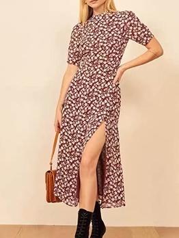 Vintage Ditsy Printed Slit Ladies Midi Dress