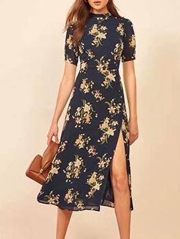 Retro Printed Short Sleeve Slit Midi Dress