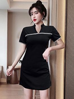 V Neck Fitted Short Sleeve Ladies Dress