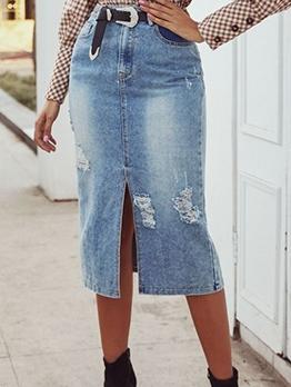 Versatile Split Hem Straight Washed Denim Skirt