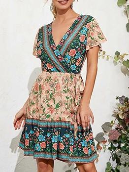 Bohemia Style V Neck Floral Short Dress