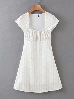 Square Neck Short Sleeve Floral Dress For Summer