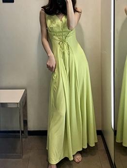 Smart Waist Sleeveless Green Maxi Dress