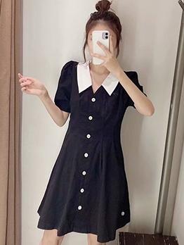 Vintage Doll Collar Puff Sleeve A-Line Dress