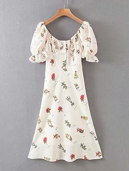 Square Neck Puff Sleeve Print Ladies Dress