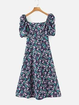 Euro Square Neck Short Sleeve A-Line Midi Dress