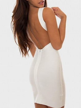 Seductive Backless v Neck Sleeveless Bodycon Dress