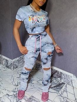 Hole Pleated Leg Gradient Color Printed 2 Piece Pants Set