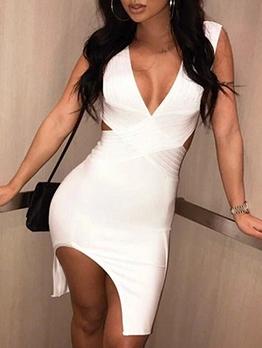 Sexy Deep v Side Split Ladies Dress