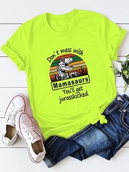 Dinosaur Printed Letter Cotton Oversized T Shirt