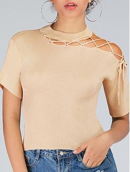 Chic Design Lace Up Shoulder Short Sleeve Ladies T-shirts