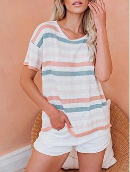 Leisure Short Sleeve Striped T Shirt
