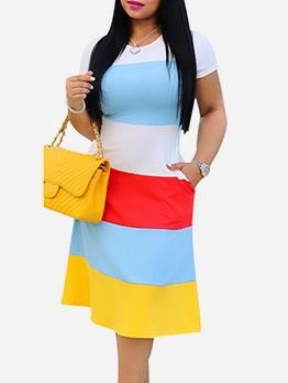 Contrast Color Short Sleeve Knee Length Dress