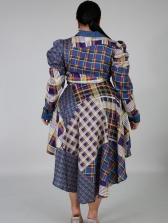 Plaid High Low Button Down Long Sleeve Dress
