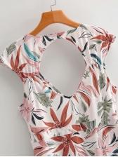 Open Back High Slit Leaves Printed Maxi Dress