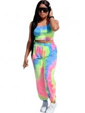 Colorful Elastic Waist Crop Top And Jogger Pants Set