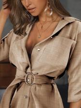 Classy Solid Button Down Long Sleeve Shirt Dress