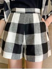 Office Ladies Black And White Plaid Blazer And Shorts Set