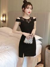 Cold Shoulder Lace Patchwork Bodycon Dress