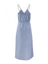 Summer V Neck Split Hem Sleeveless Striped Maxi Dress
