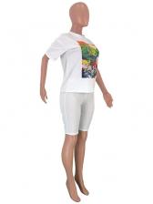 Summer Cartoon Printed Short Sleeve Two Piece Shorts Set