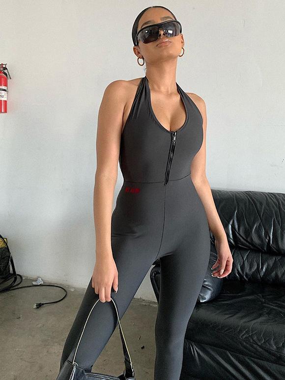 Halter Neck Front Zipper Plain Black Bodycon Jumpsuit