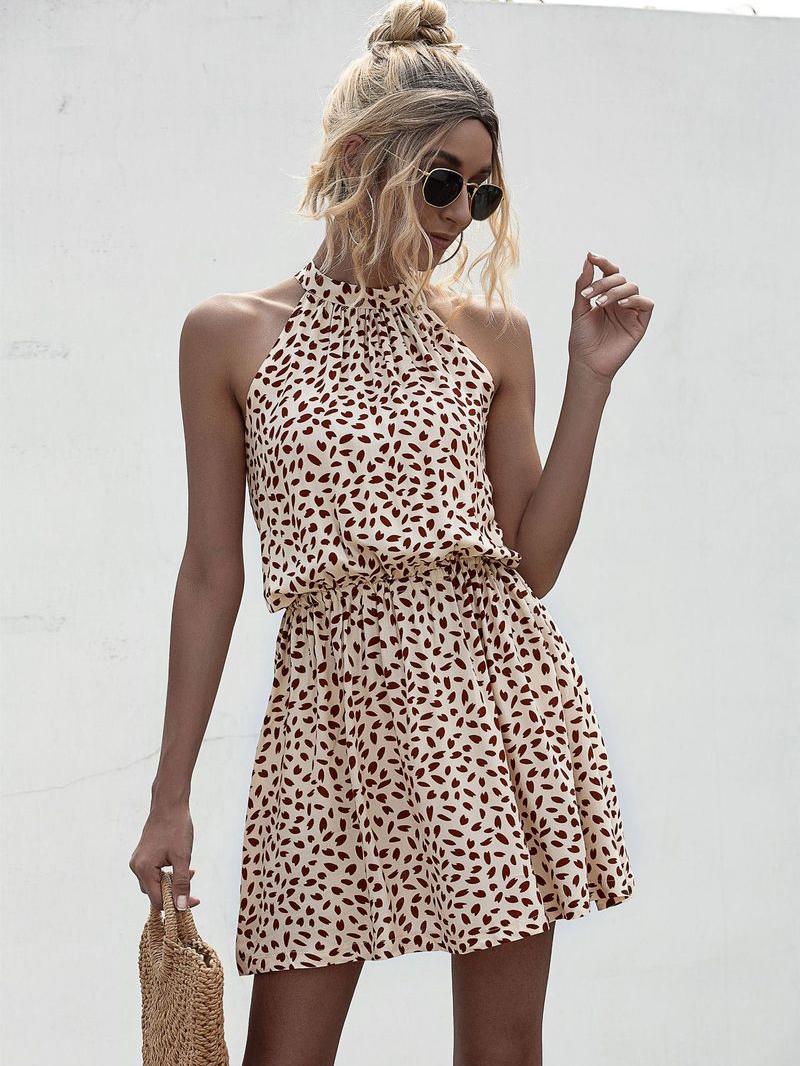 Heart Print Sleeveless Dress For Summer