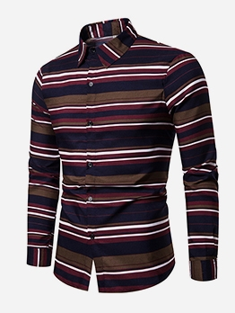 Turn Down Collar Striped Long Sleeve Shirts