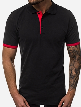 Fashion Patchwork Short Sleeve Mens Polo Shirts