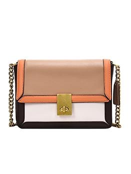 Twist Lock Stitching Color Golden Chain Shoulder Bags