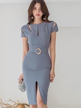 Graceful Solid Slit Short Sleeve Dress