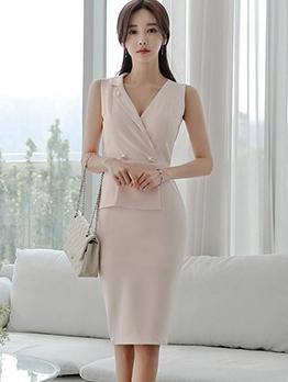 Elegant Solid v Neck Sleeveless Bodycon Dress